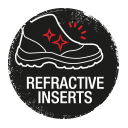 Safety shoes with refractive inserts