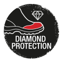 Safety shoes with toe area reinforced by diamond leather